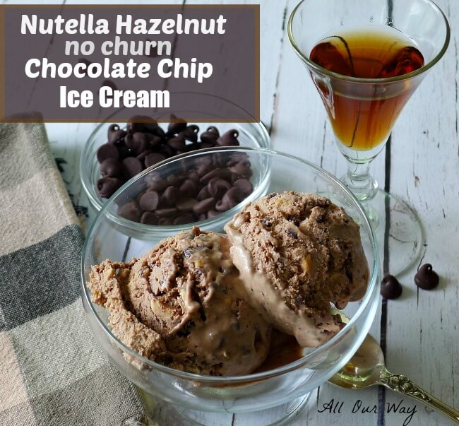 Nutella Hazelnut Chocolate Chip Ice Cream in glass dish with a small glass of liqueur and a bowl of chocolate chips. is Laced with Frangelico @allourway.com