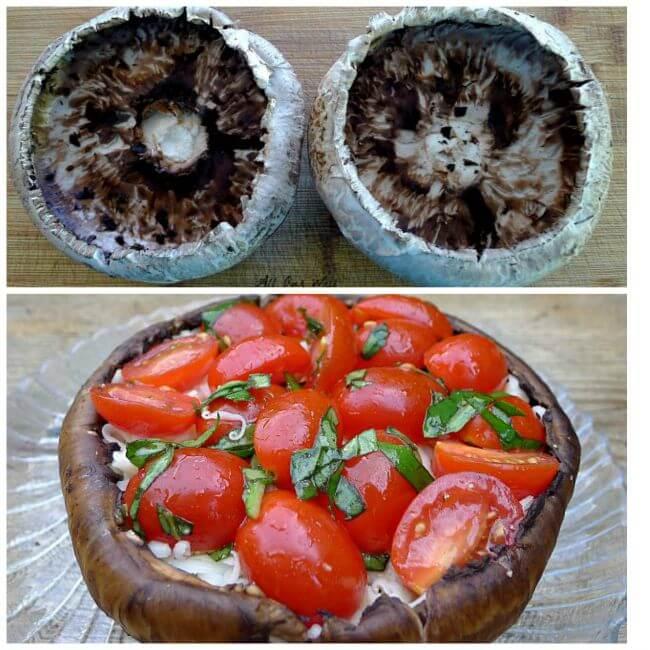 Grilled portobello mushroom alla cappers ready to put on grill @allourway.com