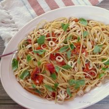 Calamari Capri over Pasta is well-balanced in flavor but also spicy @allourway.com