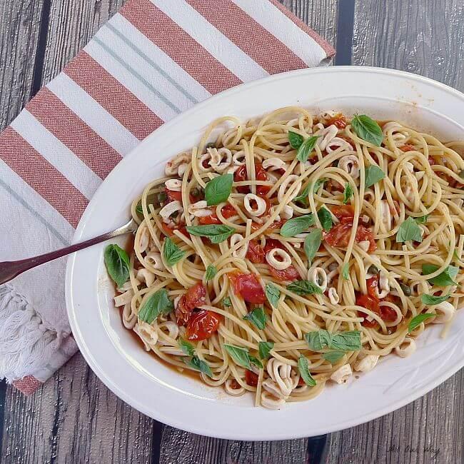 Calamari Capri with Pasta - a fresh flavorful dish @allourway.com