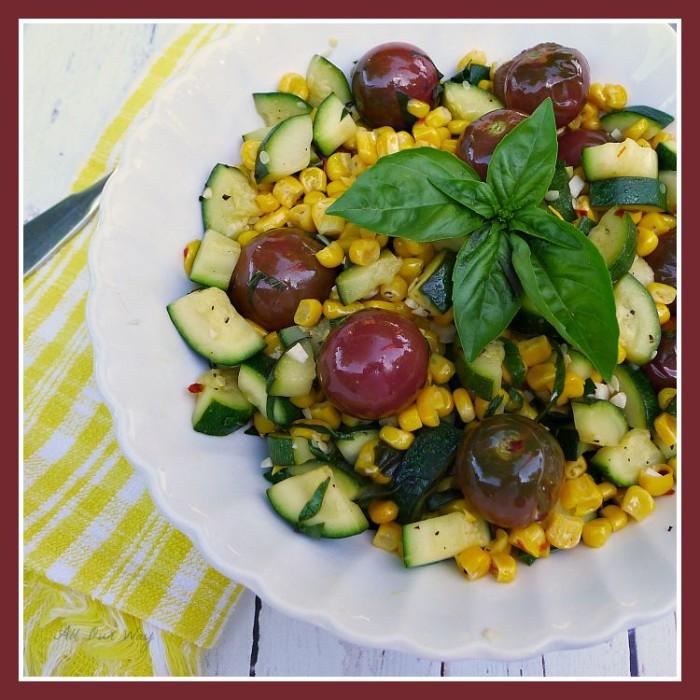 Corn, Tomato, Zucchini Sauté seasoned with garlic, basil and fresh lime @ allourway.com