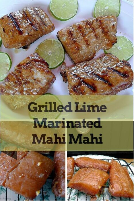Collage of Grilled Lime Marinated Mahi Mahi with photos of the grill marked fillets on a white platter with the lime slices and additional photos an overhead shot of the fillets and a side view of the fillets on a black wire rack.