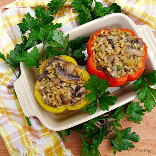 Mushroom Risotto Stuffed Peppers @allourway.com