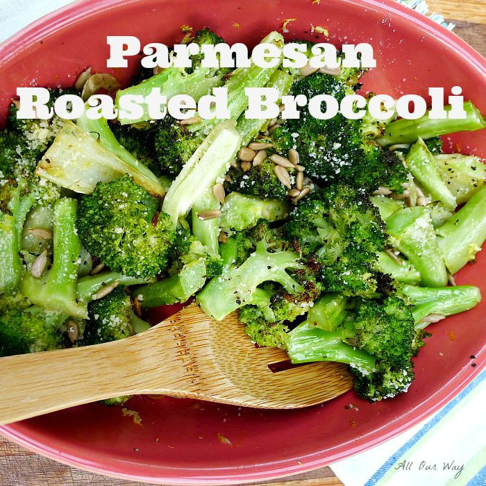 Parmesan Roasted Broccoli Flavored with Garlic and Lemon and Topped with Sunflower Seeds @allourway.com