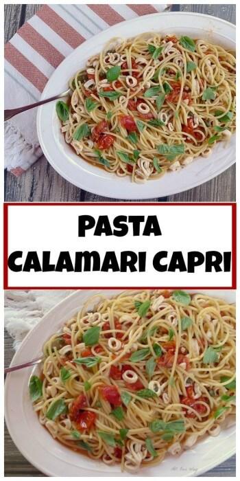Pasta Calamari Capri seasoned with lemon, garlic, hot pepper flakes, and capers @allourway.com