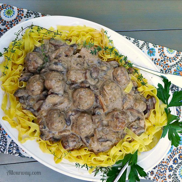 Italian Meatballs in Creamy Mushroom Sauce made with brown butter @allourway.com