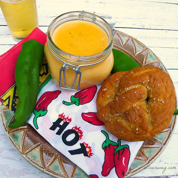 Soft Pretzels with Spicy Cheese Dip @allourway.com