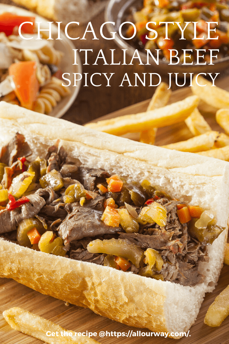 A delicious sandwich made by first roasting the beef, thinly slicing the beef, dipping the slices in the pan juices, then piling the beef on a crusty Italian roll and adding hot giardiniera and mozzarella cheese. This is an unforgettable sandwich you'll want to have again and again. #Italianbeef, #hoagiesandwich, #spicyItalianbeef #ChicagoItalianbeef, #giardiniera, #subsandwich, #beefsandwich