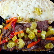 Italian Beef Chicago Style All Our Way with Mozzarella and hot giardiniera @ allourway.com