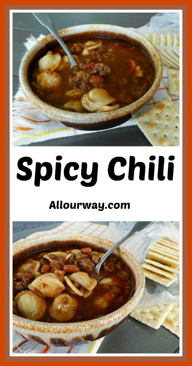 Collage of a bowl of chili soup in a brown bowl with a spoon. Saltine crackers are on the side of the bowl.