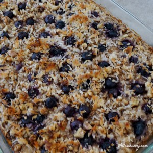 Breakfast Baked Oatmeal with Blueberries and Bananas is an easy make ahead meal that tastes delicious and is healthy @allourway.com