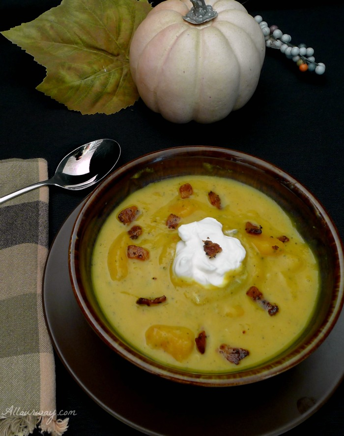 Butternut Squash Bisque with Bacon @allourway.com