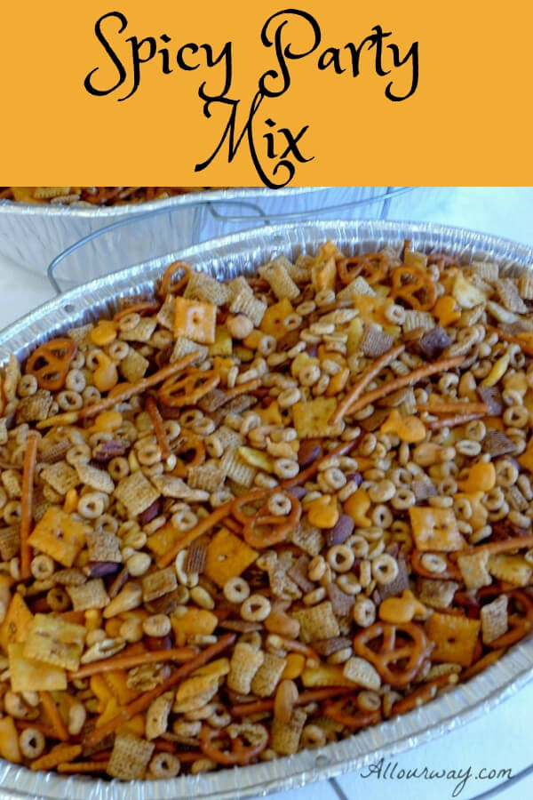 Spicy Party Mix and Ranch Oyster Crackers with Dill are ideal snack and appetizer food you can make ahead and have on hand during the holidays, game day, or give as gifts. #party_mix, #appetizer, #snack_food, #gift_food, #cereal_snack_mix, #spicy_appetizer, #Chex_mix, #Ranch_crackers, #oyster_cracker_snacks, #allourway