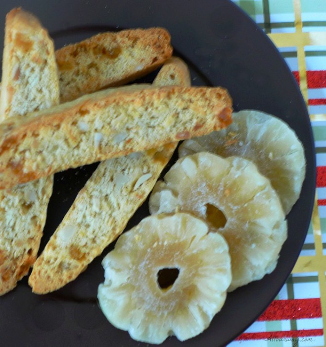 Piña Colada Biscotti are Italian cookies that are given a tropical touch with the addition of pineapple, coconut and macadamia nuts @allourway.com