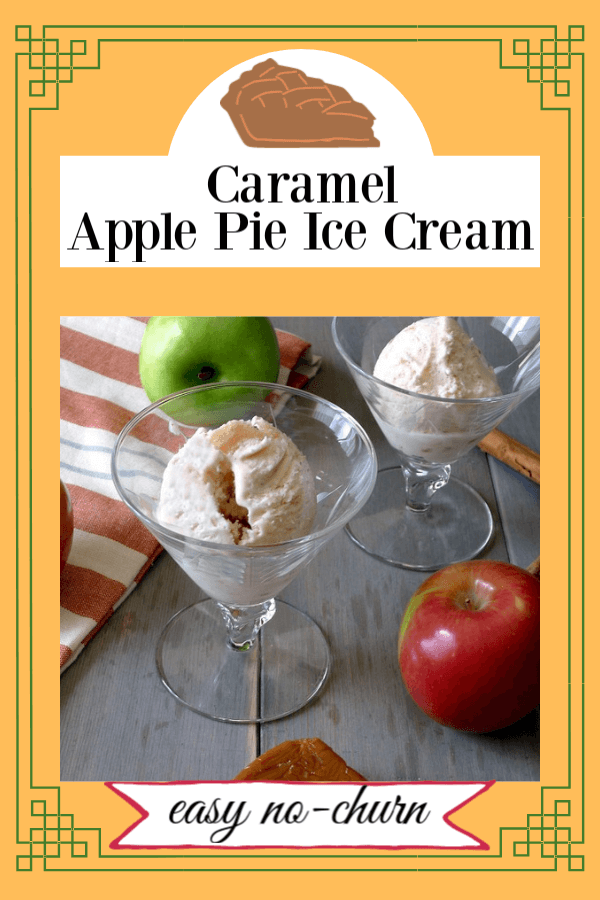 Caramel Appel Pie Ice Cream is an easy no-churn recipe that uses canned apple pie filling. Put it all together and you have a delicious frozen dessert that's no-full and perfect for Autumn Holidays. #applepieicecream #nochurnicecream, #Thanksgivingdessert, #caramelapplepieicecream