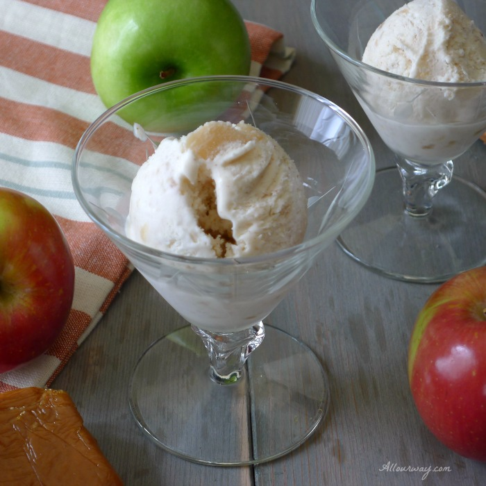 Caramel Apple Pie No-Churn Ice Cream is easy made with Apple Pie Filling @allourway.com
