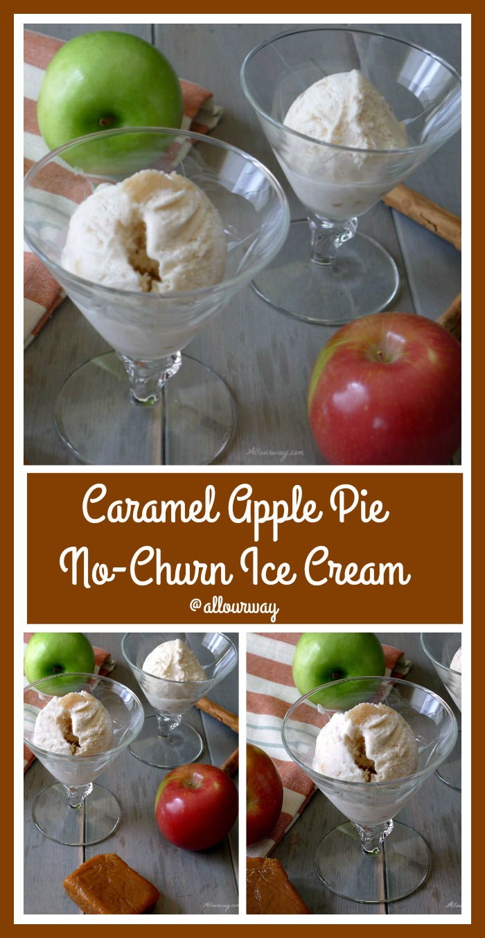 Caramel Apple Pie No-Churn Ice Cream is delicious and easy made with apple pie filling @allourway.com