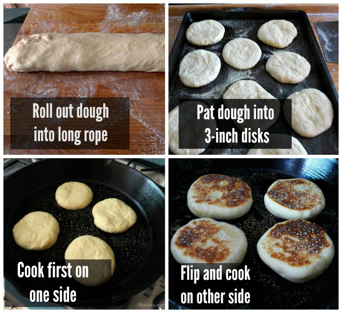 Collage of directions on how to cut the English Muffins dough, shape the rounds, cook them in a cast iron skillet.