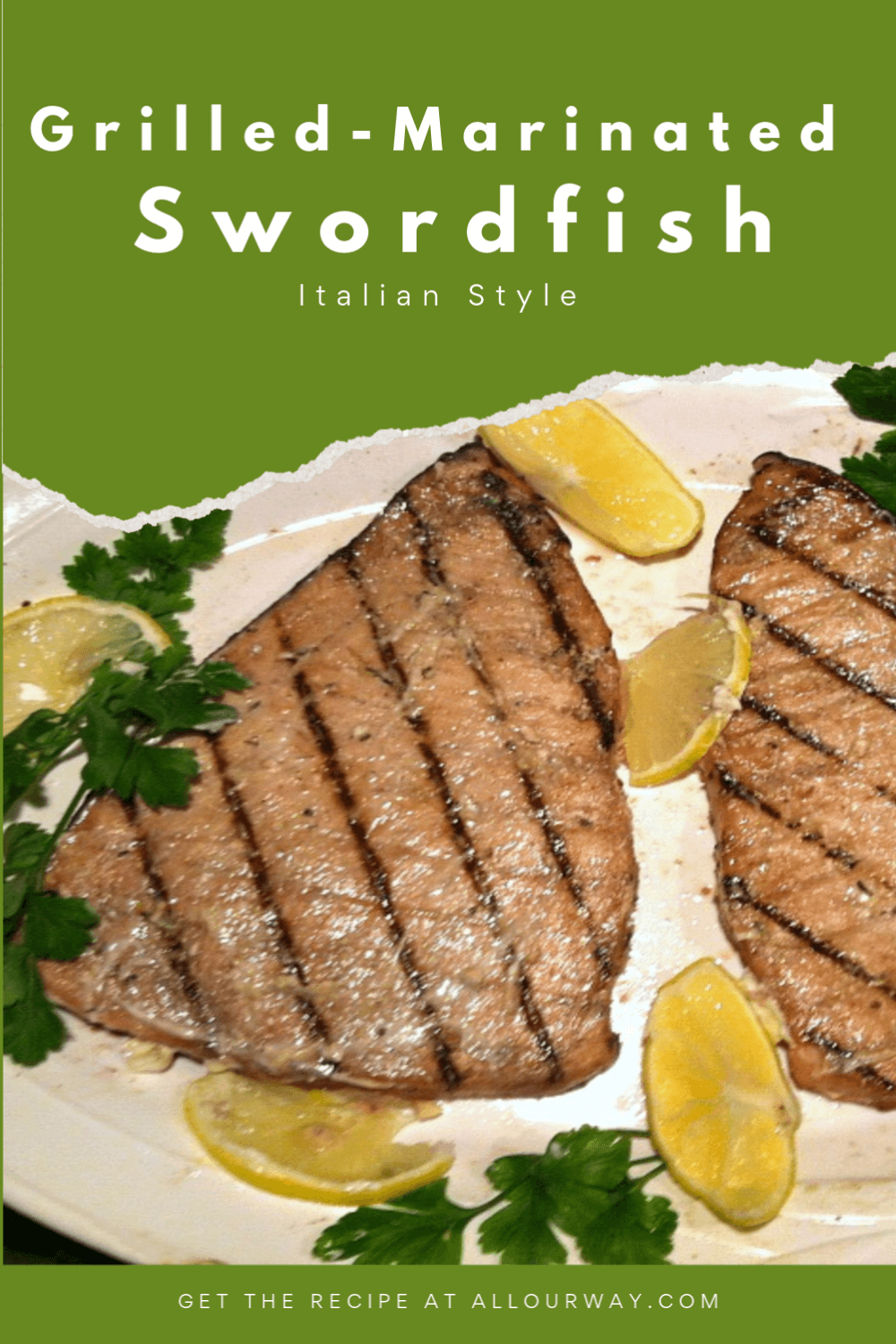 A very good way to prepare swordfish. The fish turns out full of flavor and it is very moist. The marinade is a combination of fresh herbs, balsamic vinegar, fresh lemon juice, garlic and olive oil. A quick meal to prepare and excellent for weeknight, company, and the Lenten season.