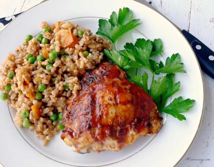 Farro and Peas - Risi e Bisi is served with our Spicy Bourbon Barbecue grilled chicken @allourway.com