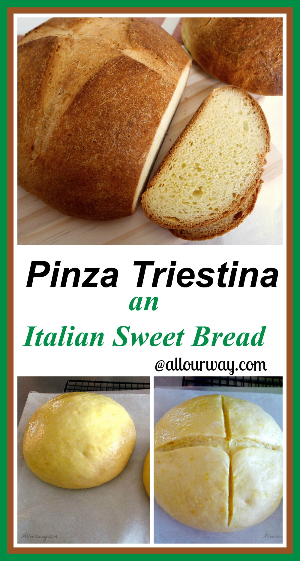 Pinza triestina is a rich egg bread such as brioche with an orange flavor. It is usually served on Easter morning but is delicious any time of year @allourway.com