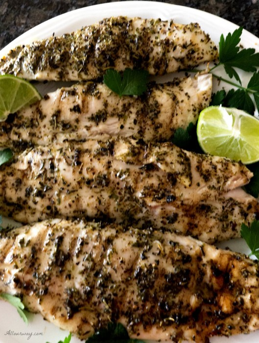 Grilled Lime Herb Fish with Truffle Oil is an easy way to grill fish with maximum flavor @allourway.com