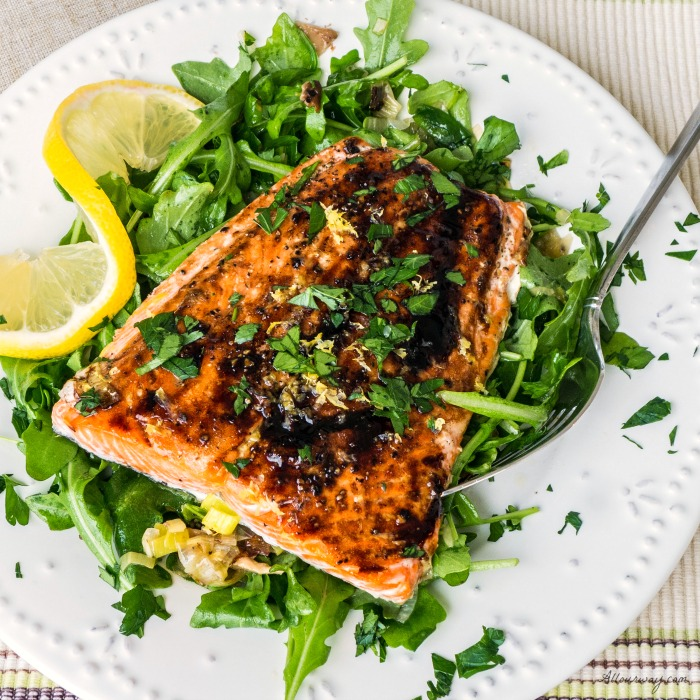Roasted Salmon with Leek, Shiitake, and Arugula Salad