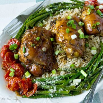 Honey Soy Baked Garlicky Chicken Thighs Recipe @allourway.com
