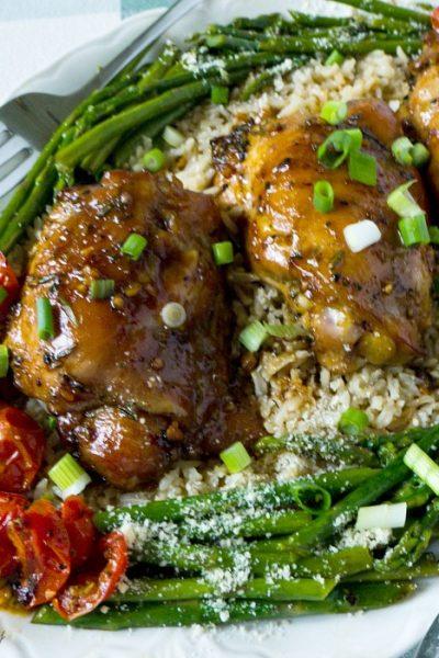 Honey Soy Baked Garlicky Chicken Thighs Recipe @allourway.com