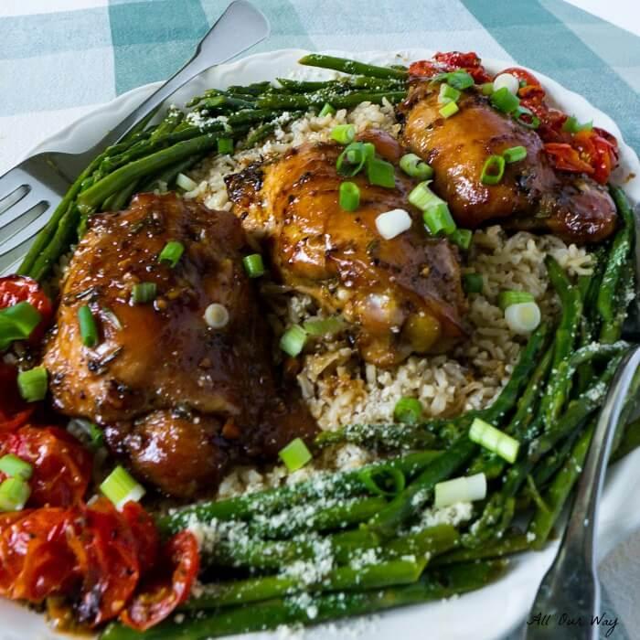 Honey Soy Garlicky Baked Chicken Thighs Recipe @allourwaycom