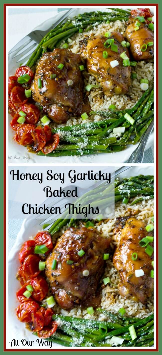 Honey Soy Garlic Baked Chicken Thighs is finger licking good and perfect to make on a busy day. @allourway.com