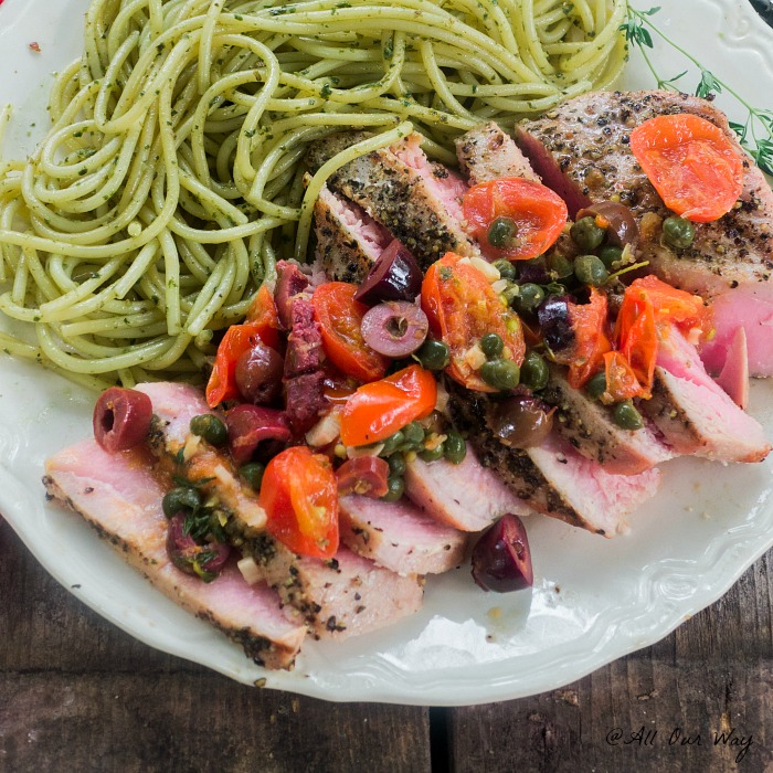 Southern Italian Grilled Tuna Steaks with a fresh sauce to top the delicious tuna @allourway.com