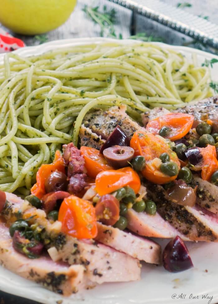 Southern Italian Grilled Tuna Steaks are topped with a delicious sauce made of grape tomatoes, capers, lemon, olives and wine @allourwy.com