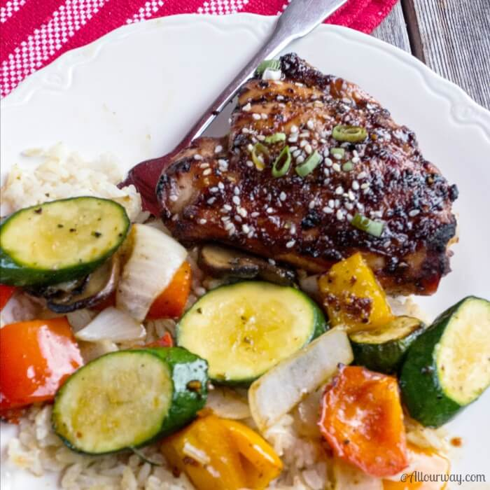 Amazing Blazing Asian Grilled Chicken Thighs with Zucchini Side @allourway.com