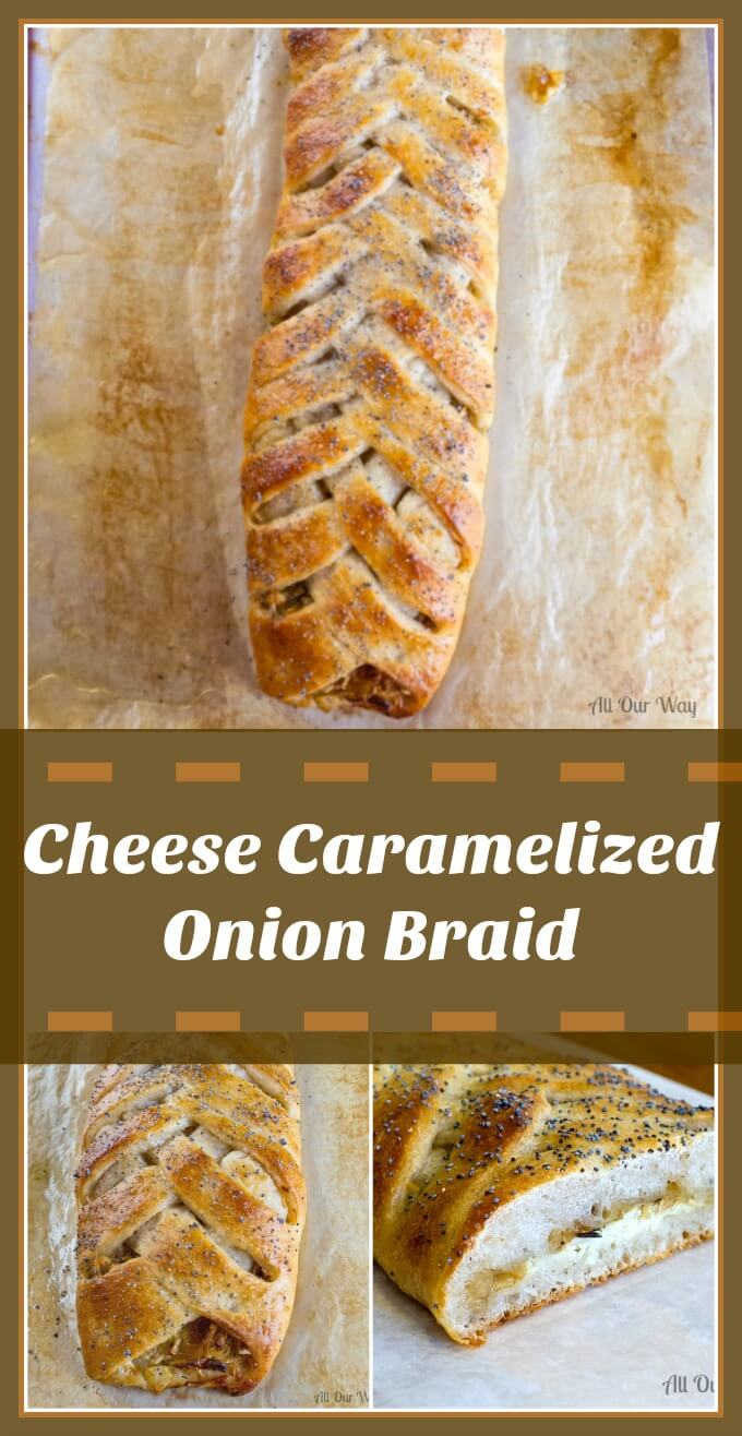 Cheese caramelized Onion Braid fast and easy with prepared pizza crust @allourway.com