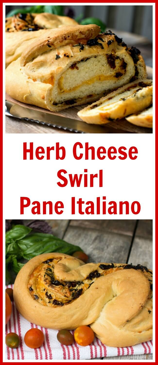 collage of herb cheese stuffed bread on red and white striped towel sliced with swirls of cheese and herbs showing. Surrounded by red tomatoes and green basil