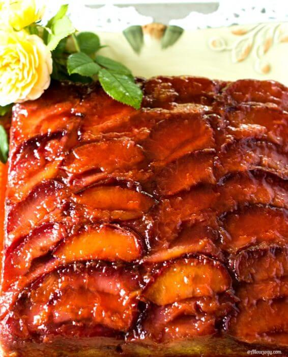 Italian Plum torte with tantalizing glaze is an inside down butter cake with delicious plums @allourway.com
