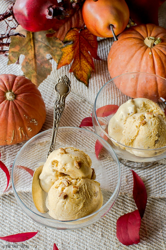 Toasted Pecan Pumpkin Ice Cream an easy no-churn recipe@allourway.com