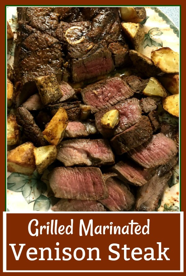 A green leaf platter holds grilled venison steak that is medium rare with chunks of cooked potatoes surrounding it.