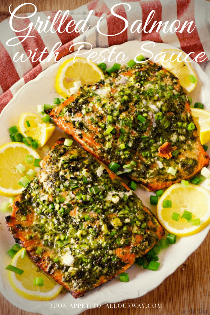Grilled Italian Pesto Salmon is an easy seafood dinner that you make 30 Minutes Start to Finish. An easy lemony pesto sauce compliments the salmon without overpowering the rich delicate fish. This delicious seafood dinner is ideal for a company seafood dish. You can use the same sauce on baked fish too. #pestosauce, #grilledsalmon, #fishsauce, #sauceforfish, #sauceforseafood