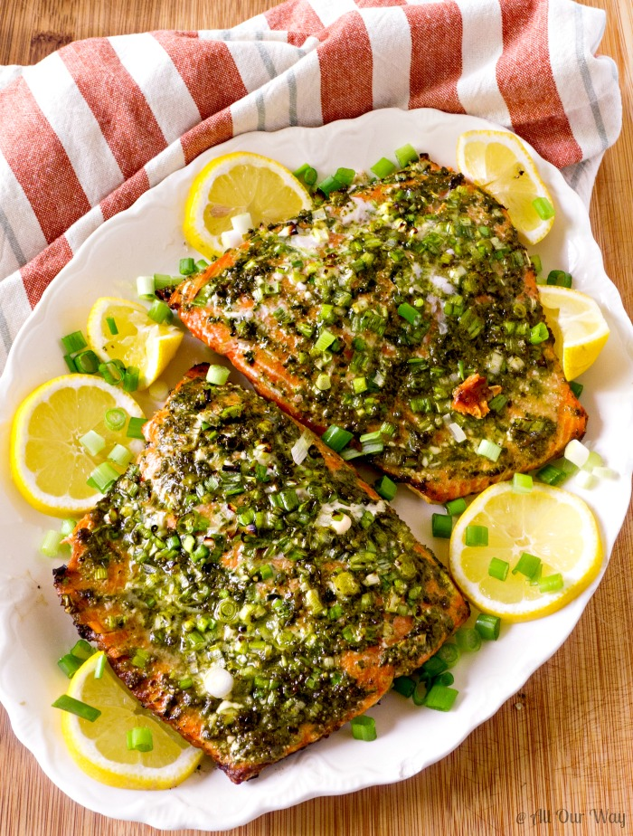 Grilled Italian Pesto Salmon is a quick and easy dish complete in 30 minutes @allourway.com