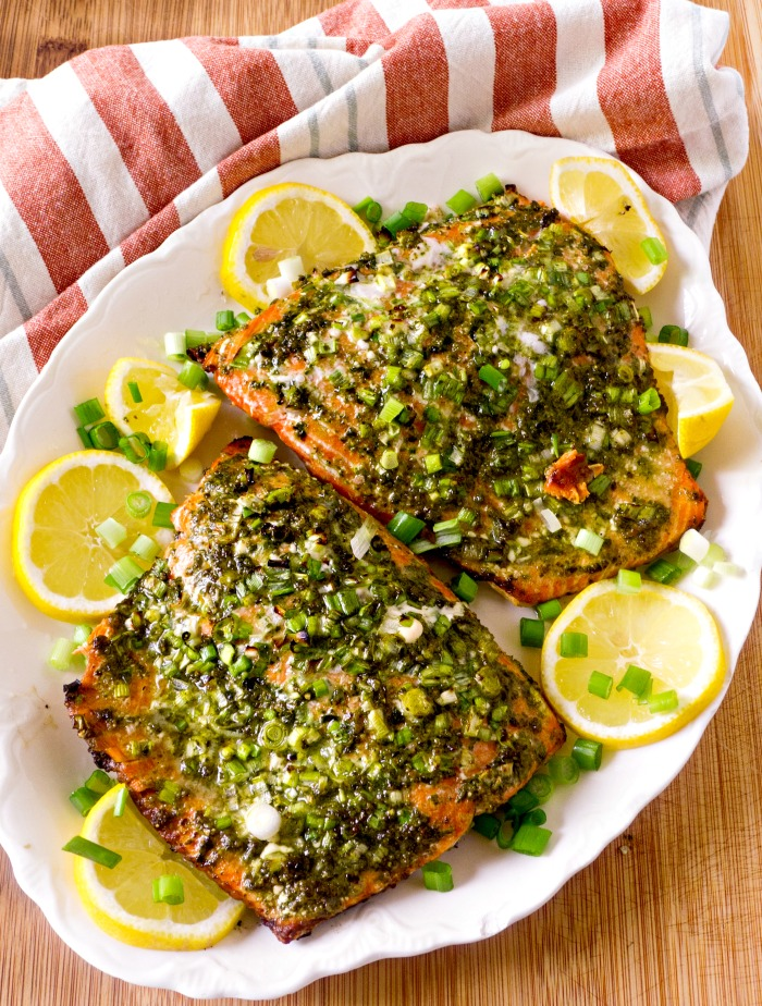 Grilled Pesto Italian Salmon is on the table in 30 minutes. It's quick and delicious @allourway.com