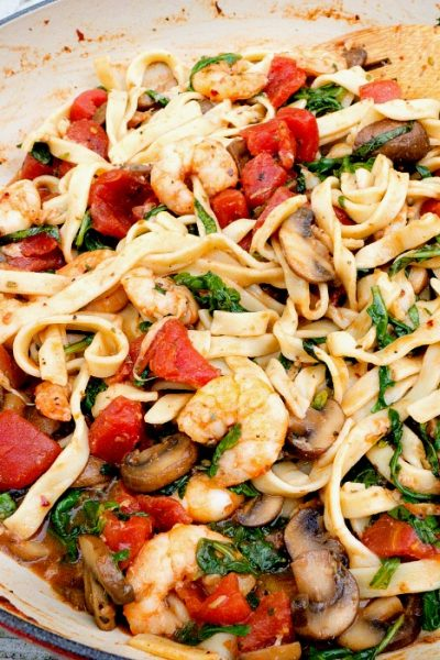 Shrimp Stir Fry Italian Style is a Delicious One pan meal served with pasta @allourway.com