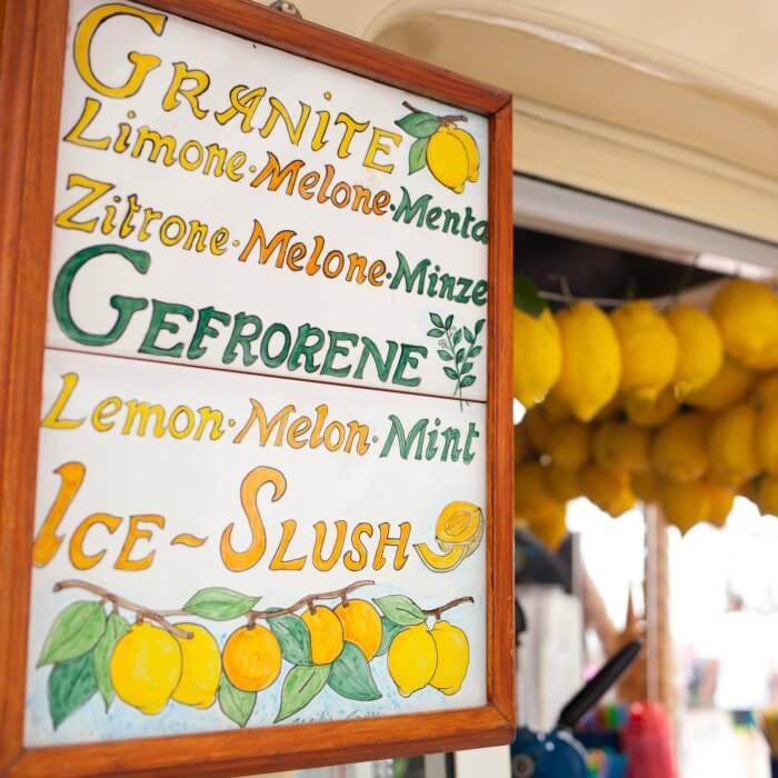 Lemon Shrimp Pasta - a kiosk in Capri selling lemon products.