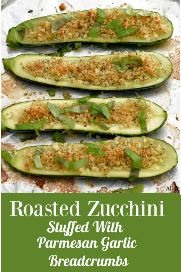 Roasted Zucchini stuffed with parmesan garlic breadcrumbs is an ideal recipe to serve if you have a lot of guests or just a few. The tasty squash boats are loaded with flavor and never turn out mushy. This recipe will certainly be a family and friends favorite. #zucchiniboats, #stuffedzucchini, #roastedzucchini, #InaGartinzucchini, #parmesangarliczucchini, #allourway