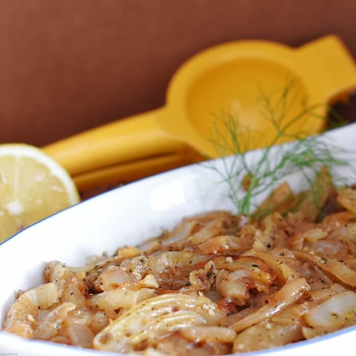 Caramelized fennel and onion is an easy Mediterranean vegetable side.