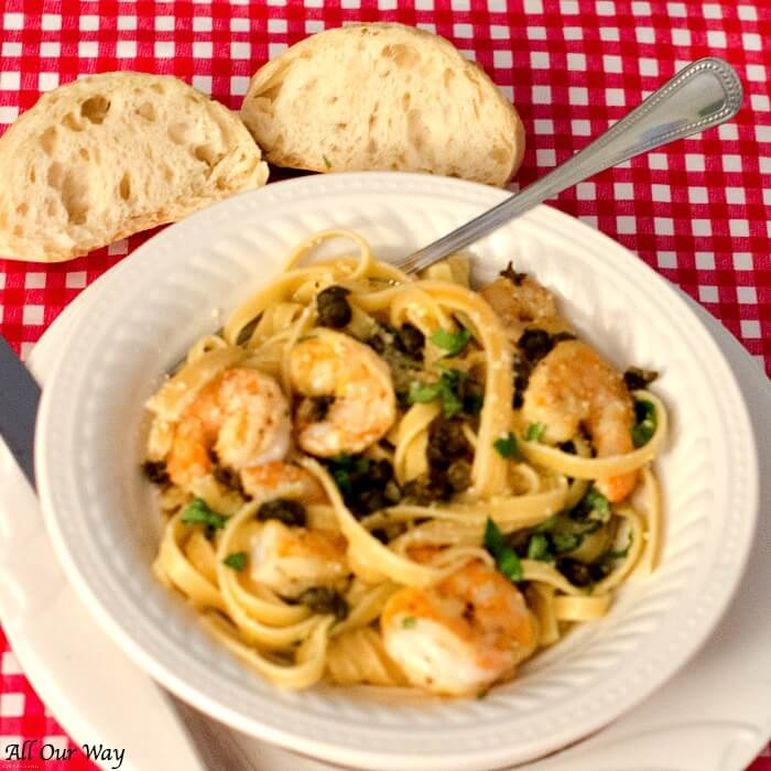 Lemon Shrimp Pasta is a healthy seafood pasta dish flavored with parmesan, basil, and capers. It's a quick meal, 30 minutes start to finish.