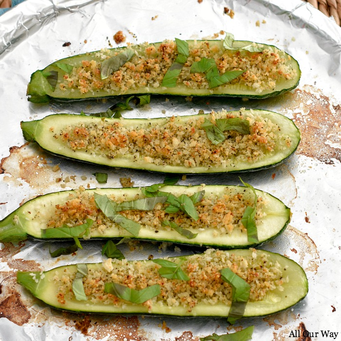 Roasted zucchini stuffed with parmesan breadcrumbs is an easy vegetable side that is loaded with flavor and texture.