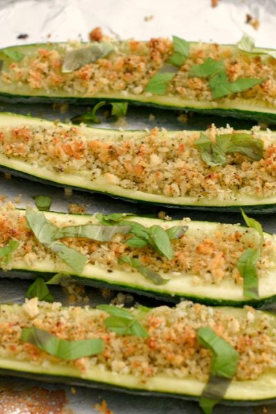 Roasted Zucchini Stuffed with Parmesan Breadcrumbs is an easy vegetable side that has lots of flavor and texture. It can be prepared ahead of time and roasted before serving.