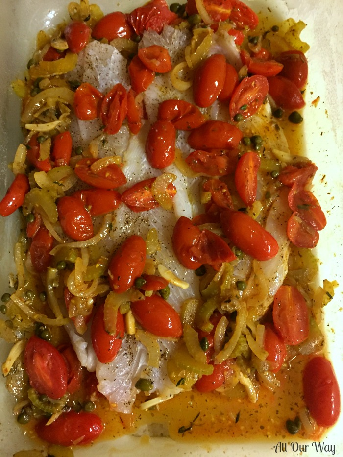 Baked Flounder Italian Style with Fresh Cherry Tomato Herb Sauce ready to bake.